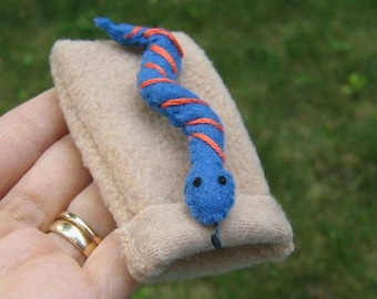 Snake in snuggle bag felt plush - blue and orange