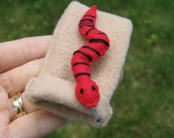 Snake in snuggle bag felt plush play set  - red and black
