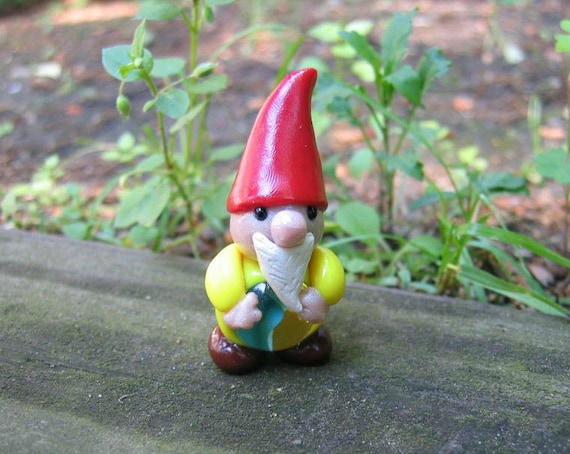 Lucky Gnome with glass marble belly miniature figure