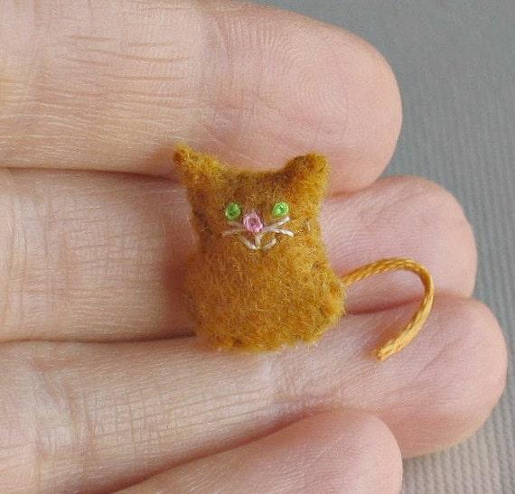 Orange cat micro miniature felt stuffed plush toy