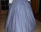 Civil War costume Long Draw string SKIRT one size fit all - Blue Calico - Handmade