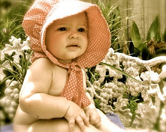 Baby Prairie Bonnet pdf pattern and tutorial  sizes 1 to 3 years Instant e-file download