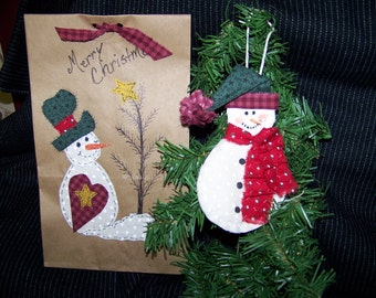 Snowman Ornament pattern and Snowman Applique with Christmas Tree gift Bag pdf Pattern Great DIY gift  with Instant Download