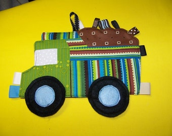 Dump Truck Patchwork Crinkle Taggie Toy pdf Pattern and Tutorial with a Immediate download e-file