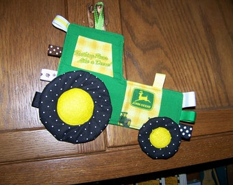 John Deere Tractor pattern for Teething Toy made with John Deere fabric Patchwork Crinkle Toy pdf pattern with Immediate Download e-file