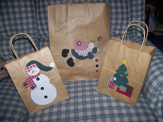 Applique patterns, Snowman, Angel and Christmas Tree pdf Pattern set of 3 Great to make your own Gift Bags Template