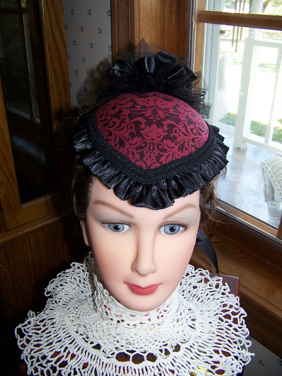 Teardrop Hat, Ladies Red and Black brocade  Victorian Civil War Black Satin ruffle