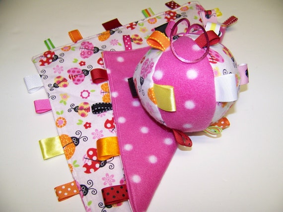 SALE Taggie Ball with rattle & Blanket Pink Lady Bug, Great baby gift
