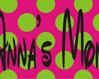 Monogrammed/Personalized Hot Pink/Lime Green dot car tag - license plate