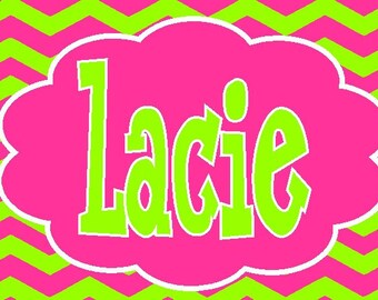 Personalized/Monogrammed Car tag   - license plate - lime pink zany  zig zag chevron