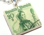 AUSTRIA -- Maiden -- Green -- Vintage Postage Stamp Pendant