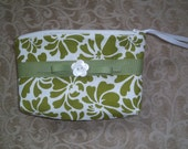 Green and White Floral Print Pouch