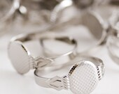 25 Silver Toned Adjustable Blank Rings