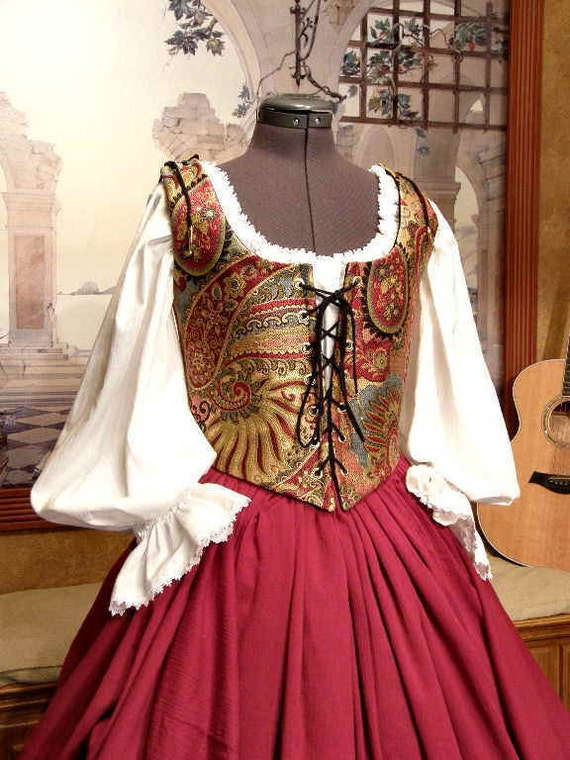 Renaissance Wench or Pirate Bodice and Skirt, Medieval Gown or Dress CUSTOM SIZED