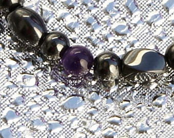 Amethyst and Magnetite Magnetic Bracelet By Happy and Healthy