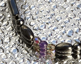Magnetic Therapy Triple Strand Anklet- Smoke and Amethyst