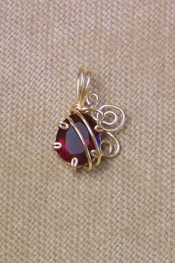 Red Garnet Faceted Gemstone Gold Wire Wrap Necklace Pendant