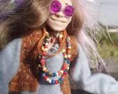 Janis Joplin- OOAK Original Poseable Artist Doll