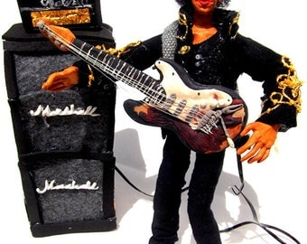 Jimi Hendrix- Handmade Poseable  Artist's Doll