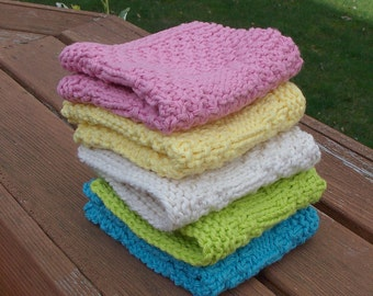 The BEST hand knit wash dish cloth reverseable