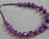 Purple Agate Large Nugget Cats Eye Necklace Set