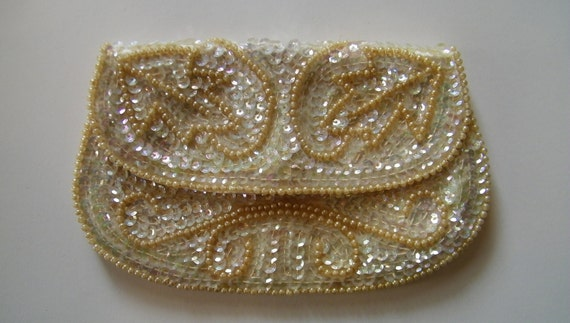 Vintage Off White Sequin and Beaded Clutch