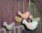 Bird Mobile - Custom Made with Handmade Mulberry Paper - Baby Nursery - Girls Room