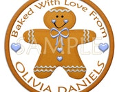 Reserved for Sherri-Gingerbread Boy Stickers-Labels-4 Sets of 9-Baked With Love From-Custom Name