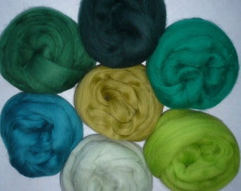 On the green wool roving 7 colors One ounce of each color