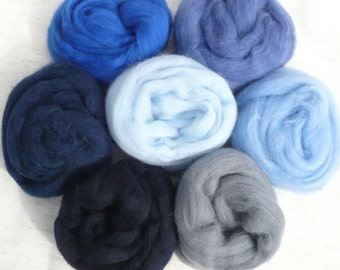 I got the blues wool roving 7 blue-ish colors one ounce each