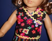 Balck floral top and stripe capris with rickrack trim for 18 doll