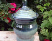 Carved Lidded Jar in Jade Green and Blue