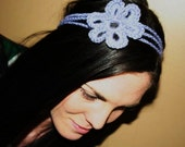 the daisy- crocheted flower headband in purple