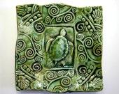 Sea Turtle Trinket Dish Green Handmade Hand Built Pottery
