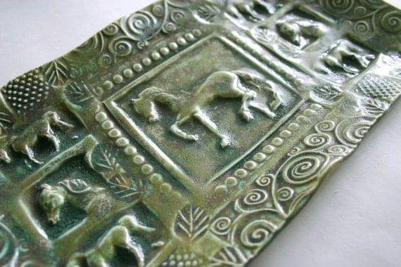 Green Horse Textured Tray Hand Built