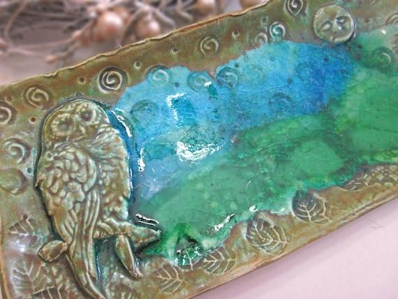 Ceramic Owl w Green Blue Glass Tray Dish Handmade Pottery