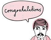 Wes Says Greeting Card - Congratulations (pink)