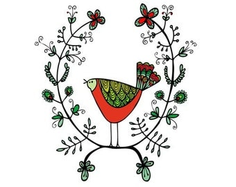 Christmas Card - Red and Green Emblem Bird