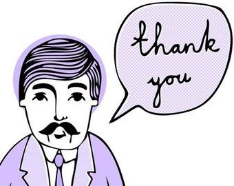 Wes Says Greeting Card -Thank You (purple)