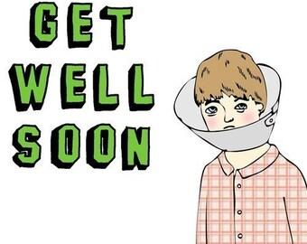 Get Well Soon Card - Cone Head