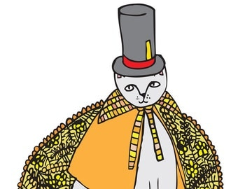 Greeting Card - Yellow Fashion Cat