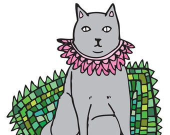 Greeting Card - Green Fashion Cat