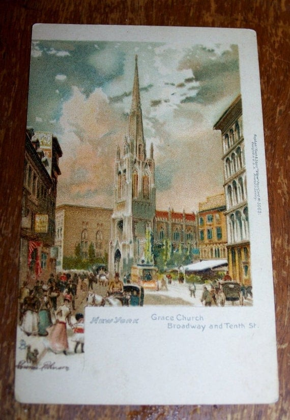 Antique Post Card, New York City, 10th and Broadway, Rare Vintage Postcard