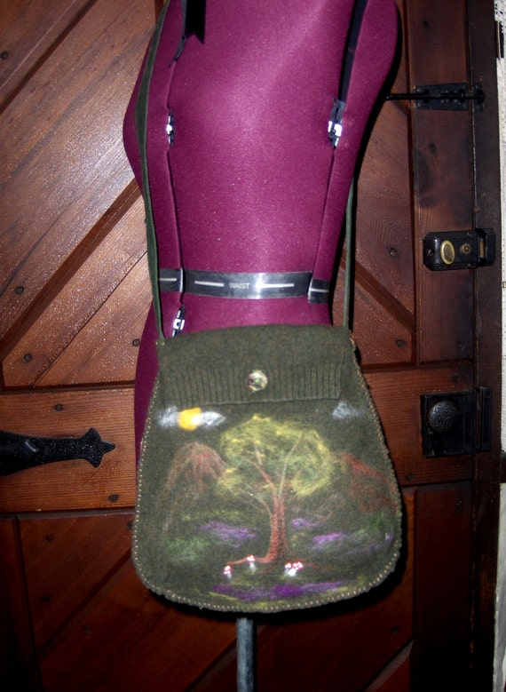 DeviDesigns Felted Wool Cross Body Shoulder Bag with felted tree, mushroom and mountains landscape
