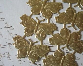 German Dresden Foil Golden Butterflies - Sheet of Ten