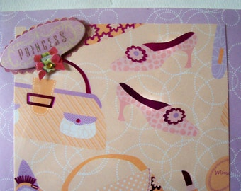 Shoes and Purses Princess All Occasion Birthday or Friendship Handmade Card - Pink and Purple Prettiness