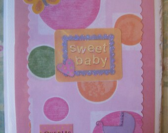 Sweet Baby Girl Card or Baby Shower Card