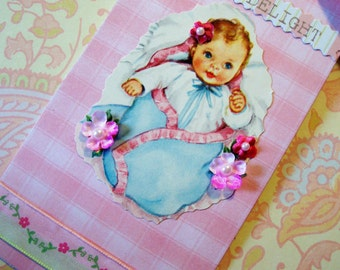 Handmade New Baby Shower Gift Tag with Vintage Baby Image