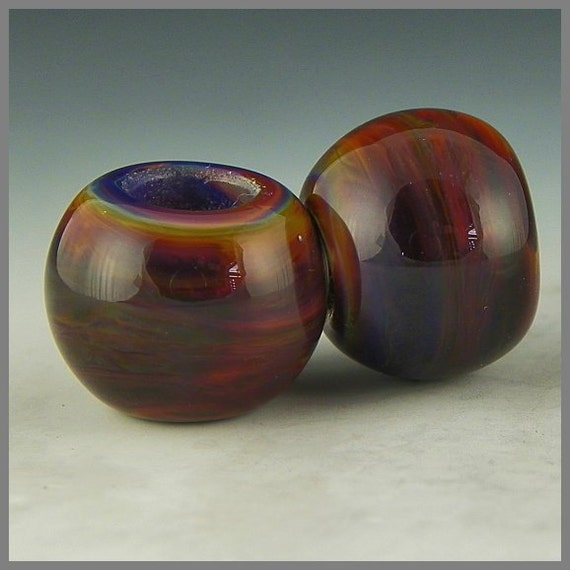 great handmade lampwork accents for viking knit - Rusty Beadcaps