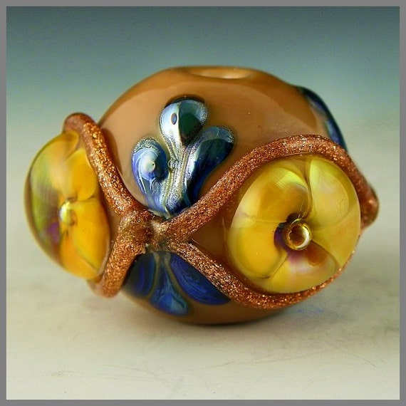 SALE - an exquisite handmade lampwork focal bead featuring sparkling gold adventurine and delicate yellow & blue buds - Remembrance
